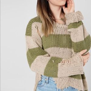 Gilded Intent Striped Distressed Sweater